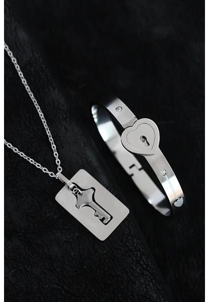 Erb Anahtarlı Kelepçe Çelik Kolye Ve Kalpli Paslanmaz Çelik Bileklik Seti