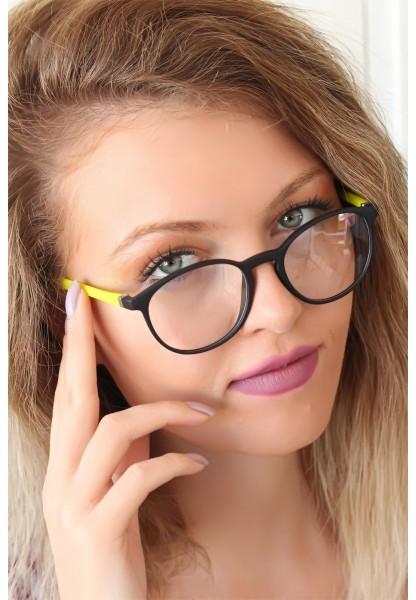 Siyah Renk Oval Çerçeveli Sarı Renk İmaj Gözlüğü